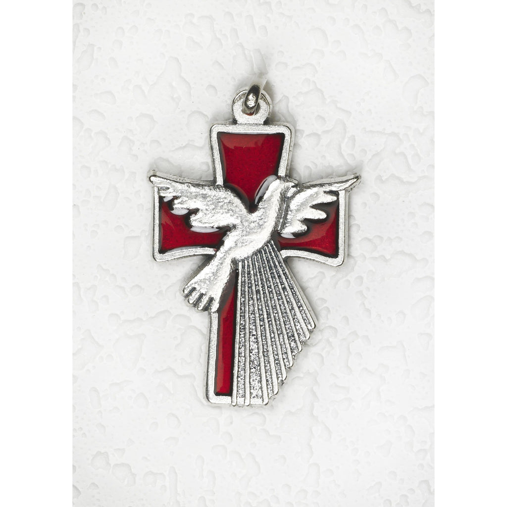 1-1/2 Inch Red Enamel Holy Spirit Cross