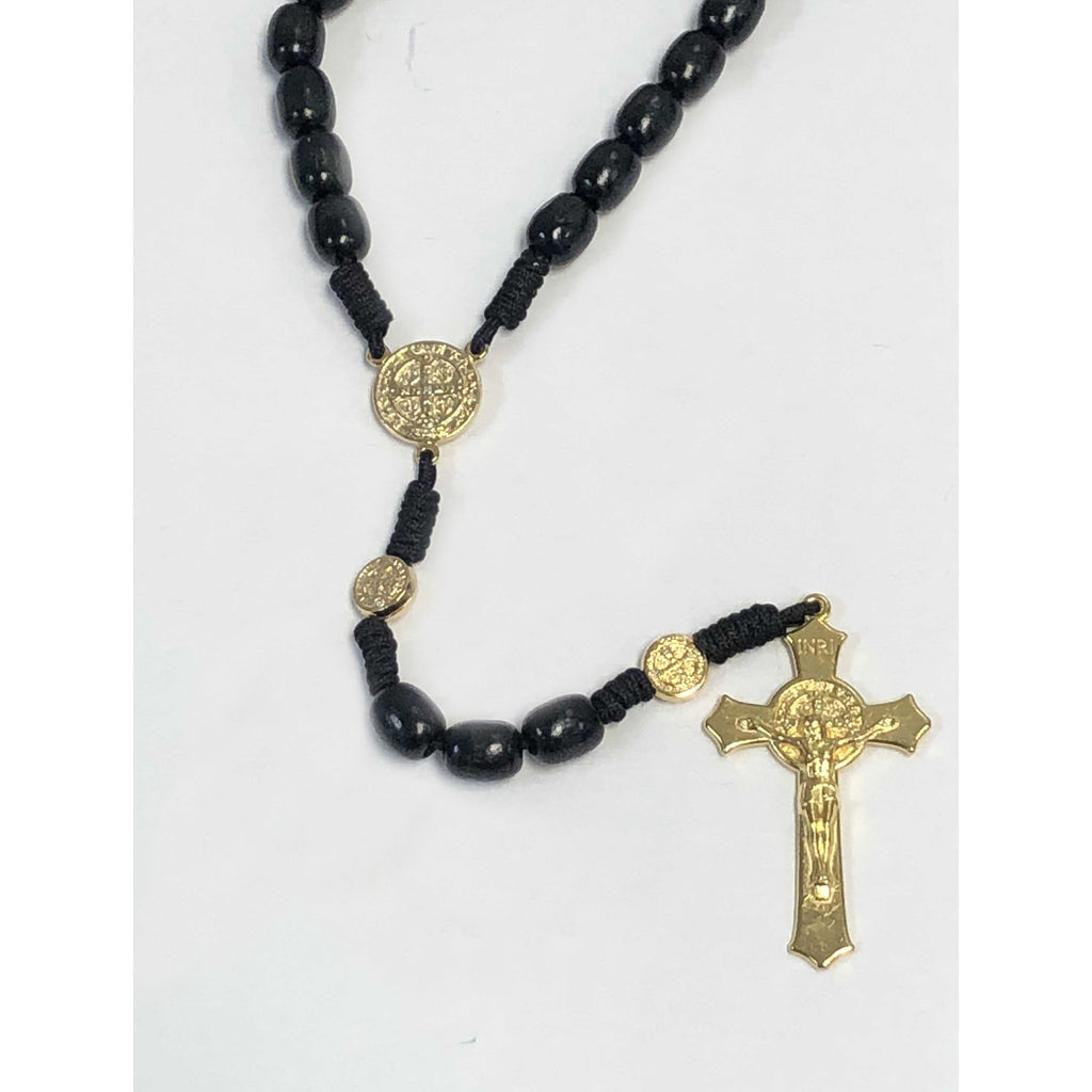 10mm Saint Benedict Black Cord Rosary - Gold Toned