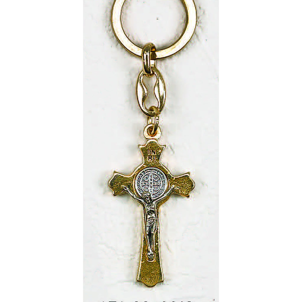 Gold Tone Saint Benedict Cross Key Chain - Pack of 6