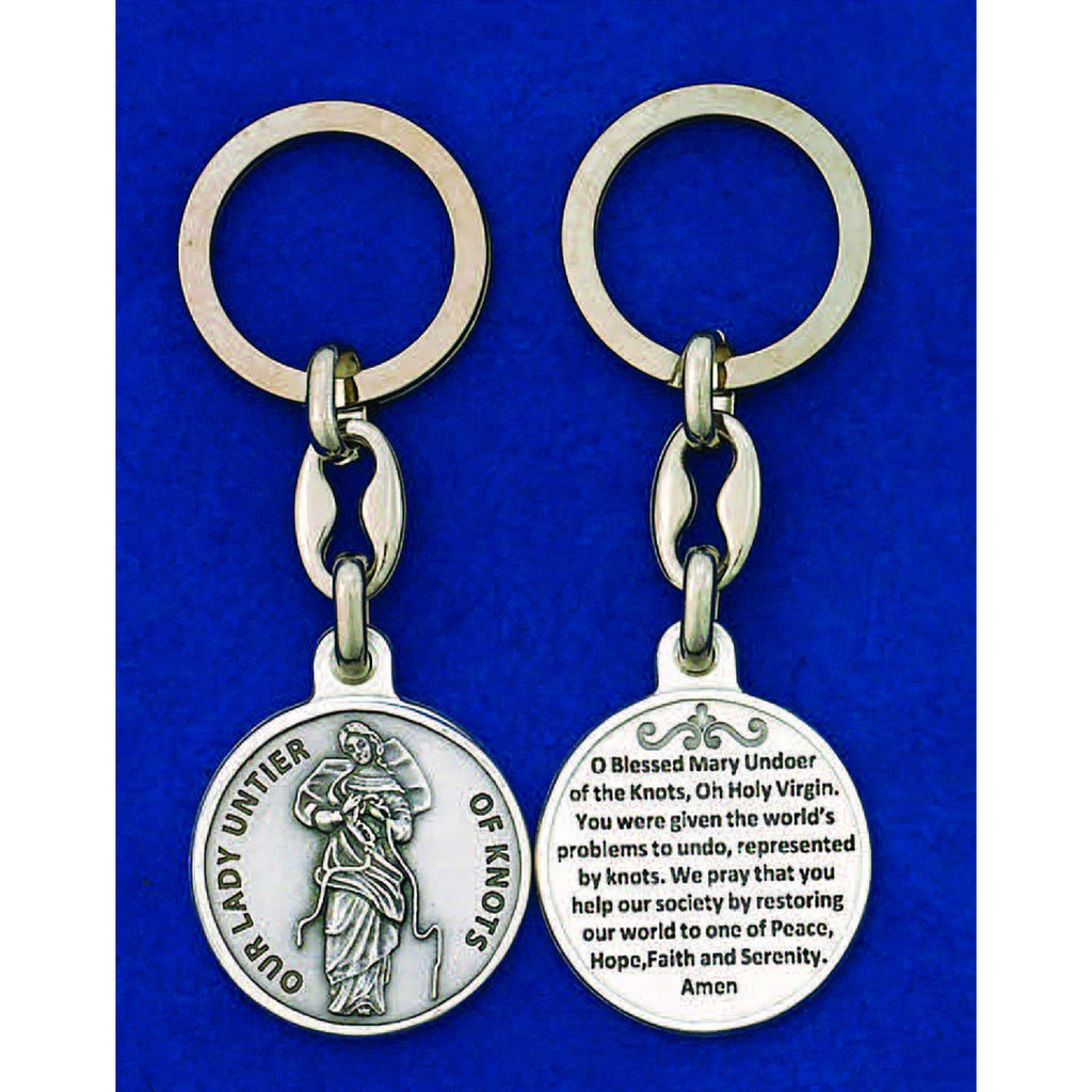 Our Lady Untier of Knots Silver Tone Token Key ring