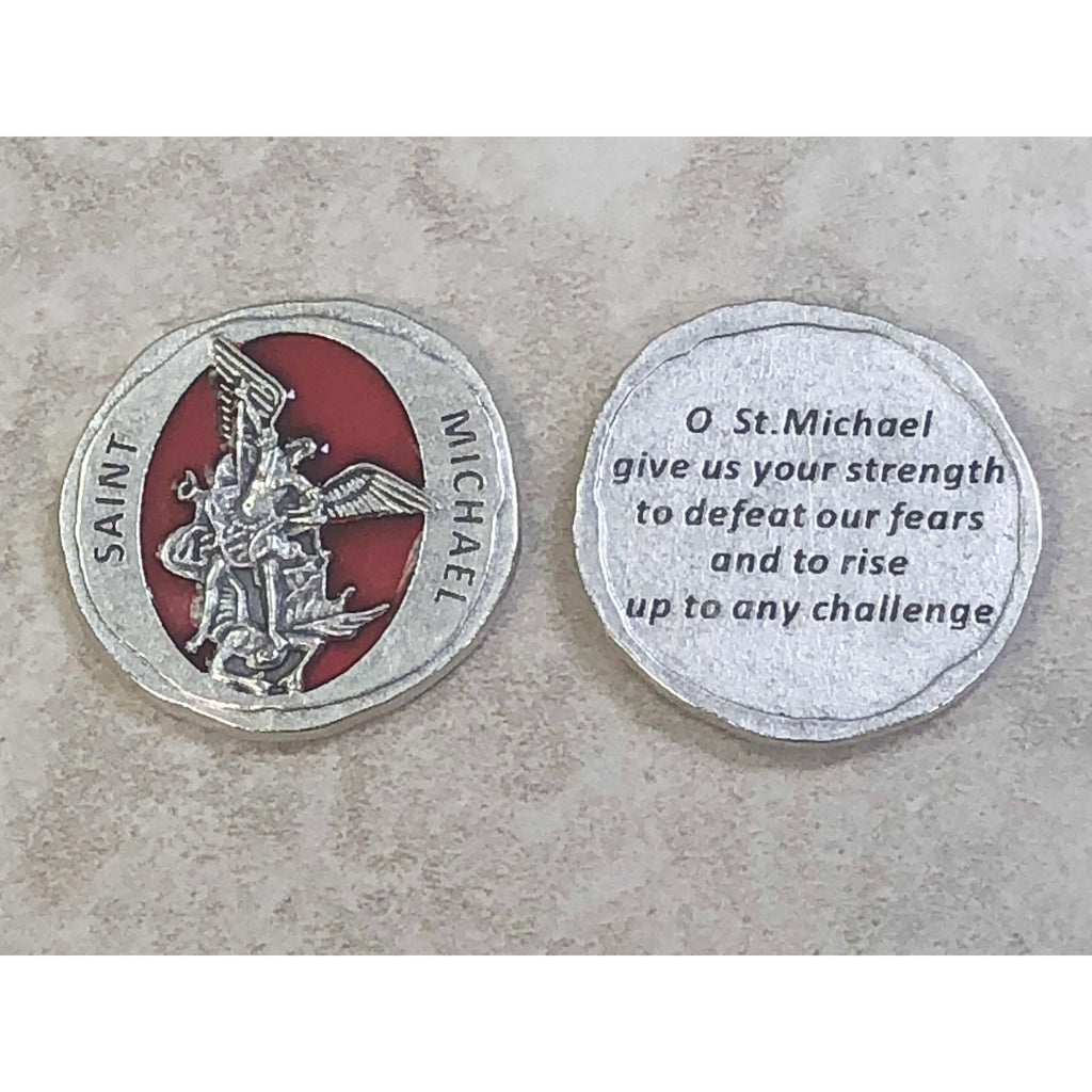 Forged in Stone Red Enamel St. Michael Token