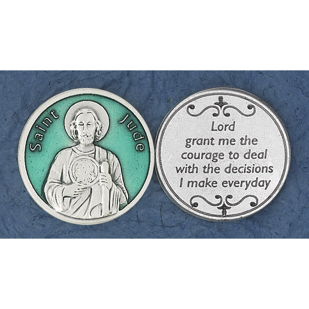 Green Enameled St. Jude Token
