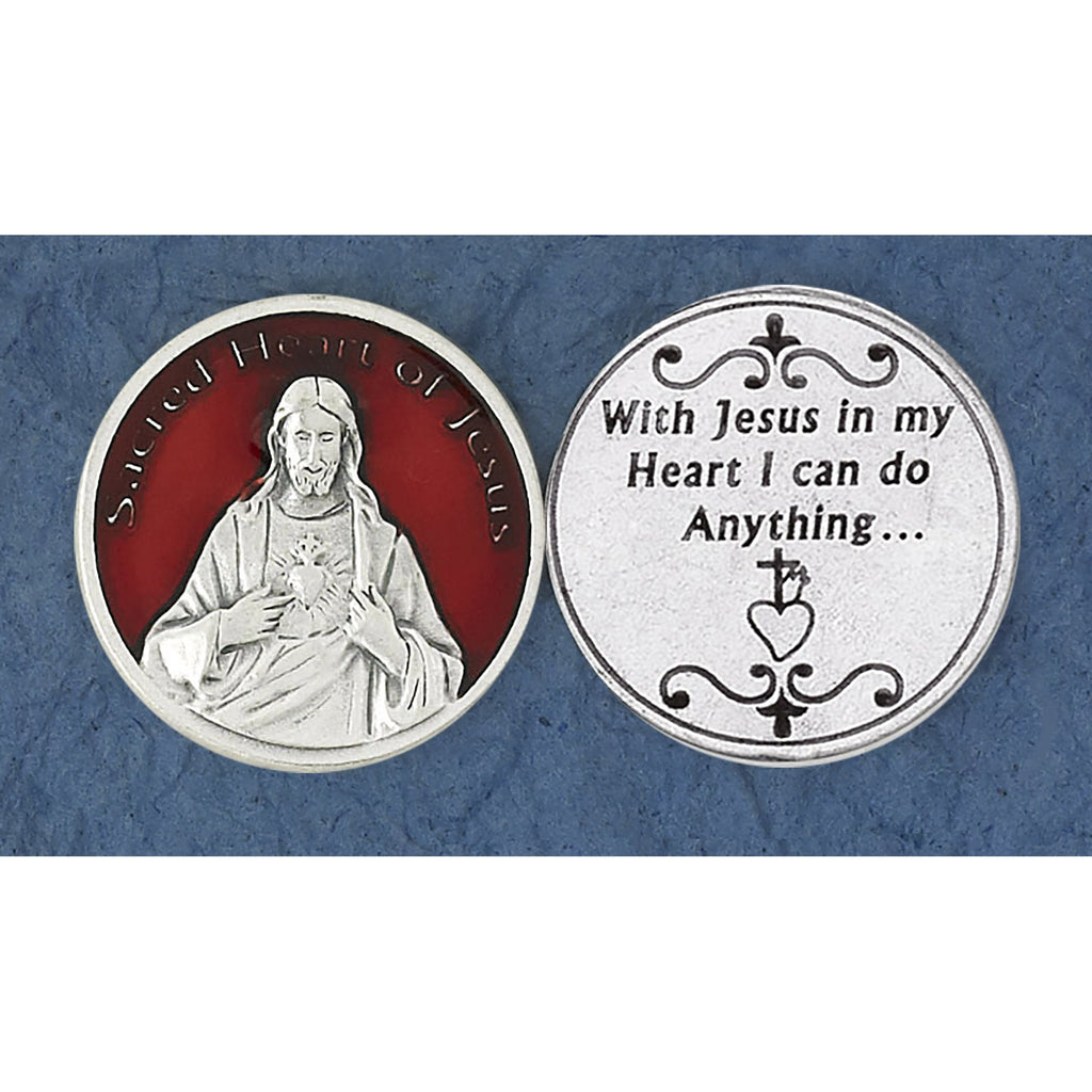 Red Enameled Sacred Heart of Jesus Token