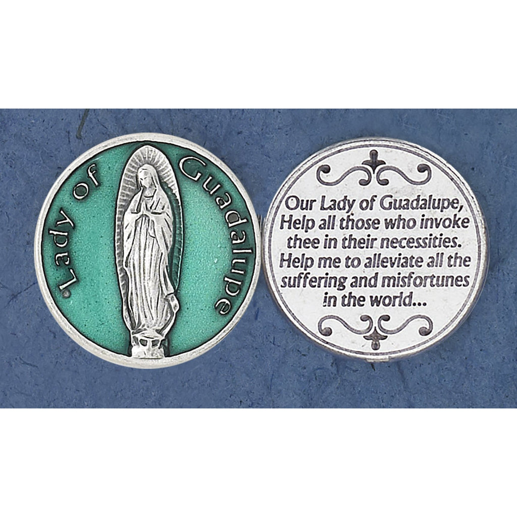 Green Enameled Lady of Guadalupe Token