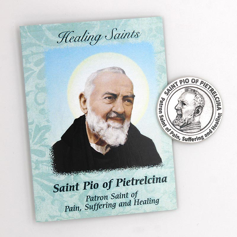 Saint Pio Healing Saints Card  with Token