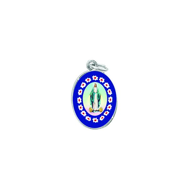 Silver-tone Murano Style Medal - Lady of Grace