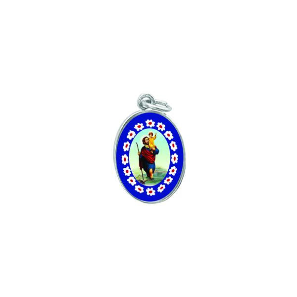 Silver-tone Murano Style Medal - Saint Christopher