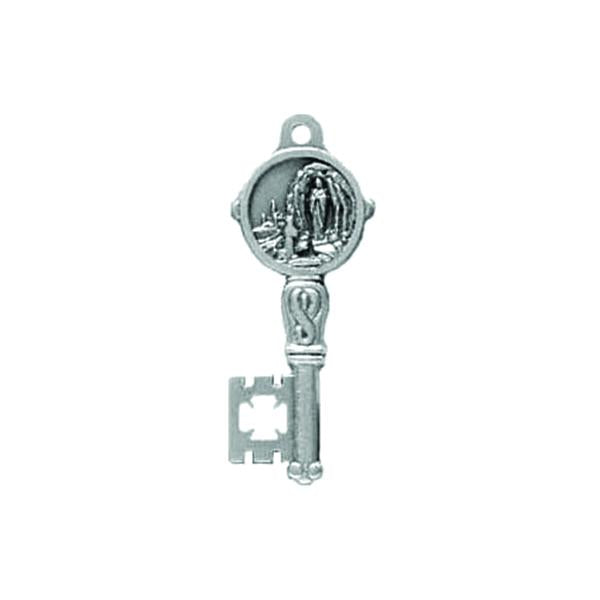 Silver-tone Key Shaped Pendant/Medal - Lady of Lourdes