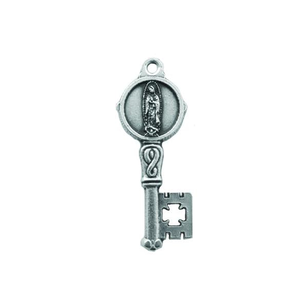 Silver-tone Key Shaped Pendant/Medal - Lady of Guadalupe