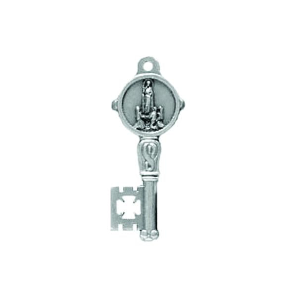 Silver-tone Key Shaped Pendant/Medal - Lady of Fatima