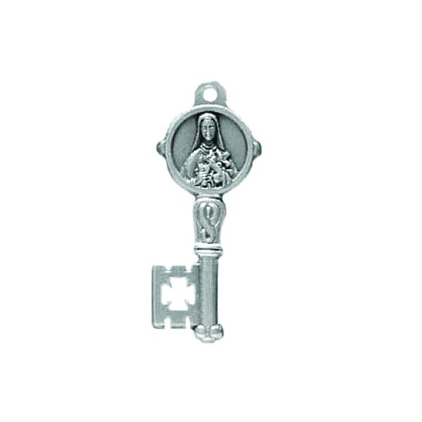 Silver-tone Key Shaped Pendant/Medal - Saint Therese