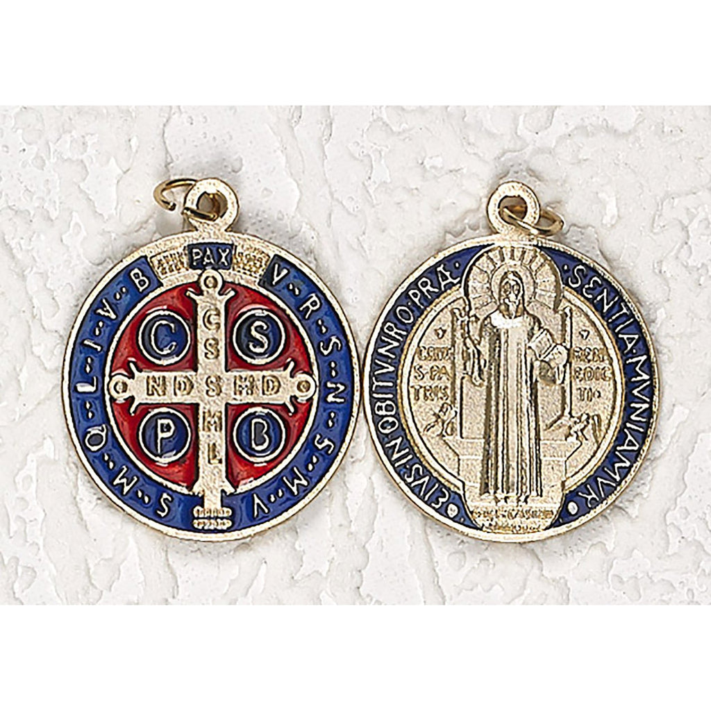 Saint Benedict Gold Tone with Dark Blue/Red Enamel Medal - 9 Options