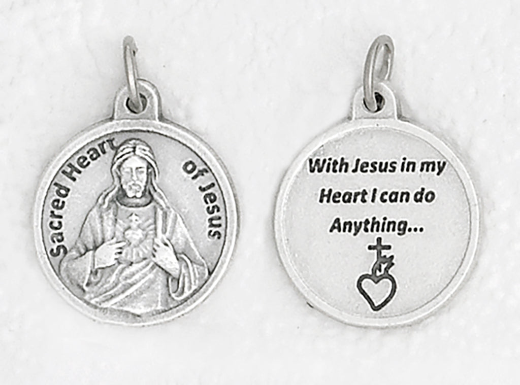 Sacred Heart Silver Tone Round Medal