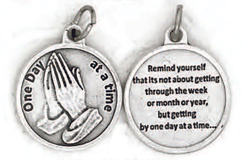 Silver tone One Day at a Time Double Sided Medal - 4 Options