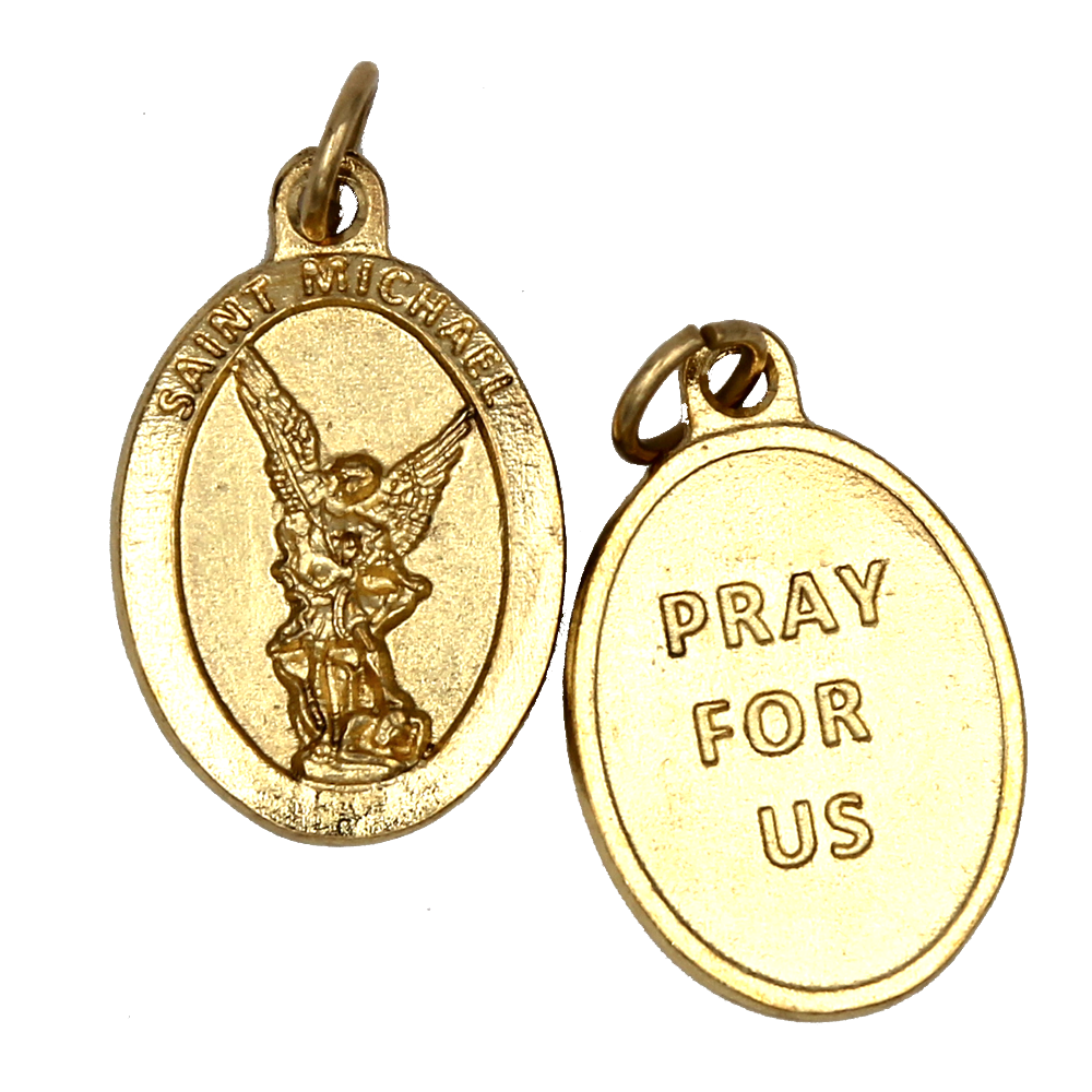 Saint Michael Premium Double Sided Medal - Gold Tone