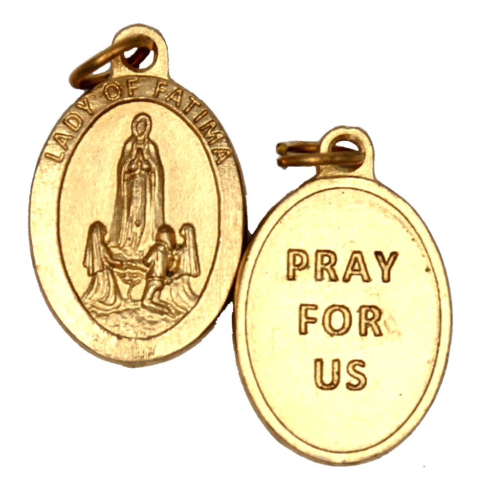 Lady of Fatima Premium Double Sided Medal - Gold Tone -