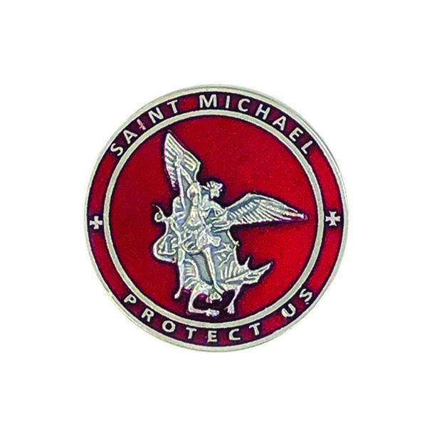 Saint Michael Red Enamel Visor Clip