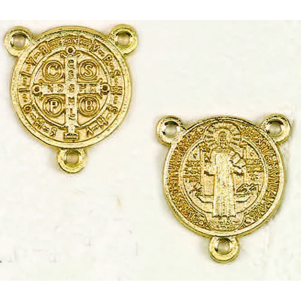 St. Benedict Gold Tone Large Round Rosary Center - Pack of 25