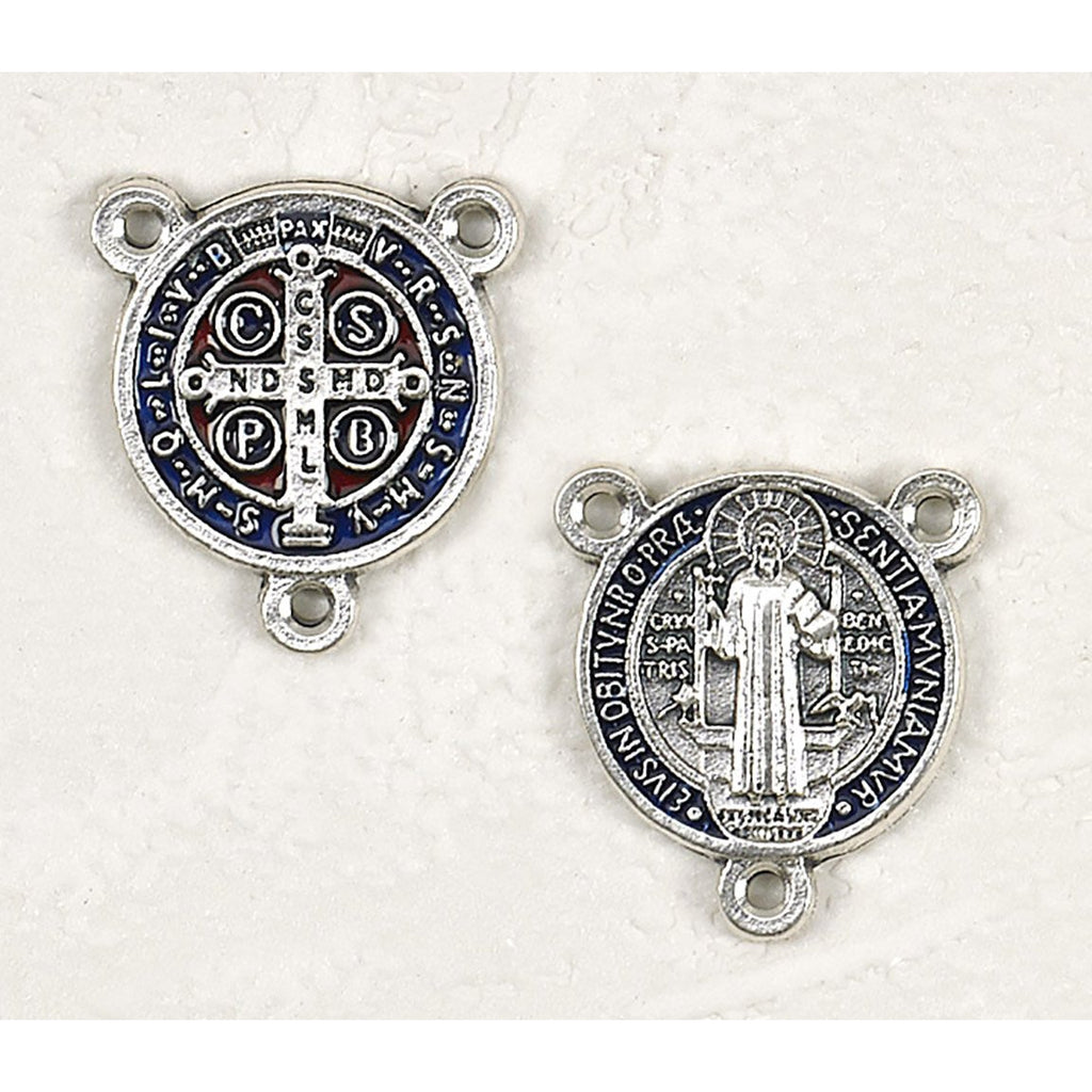 Enameled Saint Benedict Medals - Dark Blue and Red - Silver Tone - Pack of 12