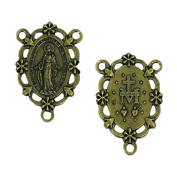 Brass Rosary Center - Decorative Miraculous Medal