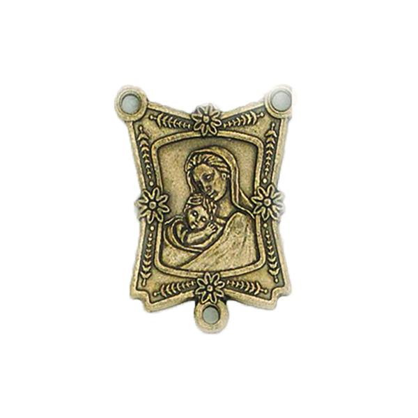Brass Rosary Center  - Elegant Mary with no Imprint on Back