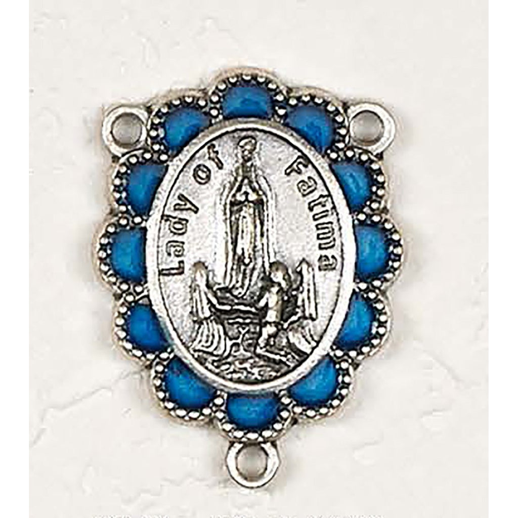 Enameled Our Lady of Fatima Silver toned Rosary Center - Pack of 25
