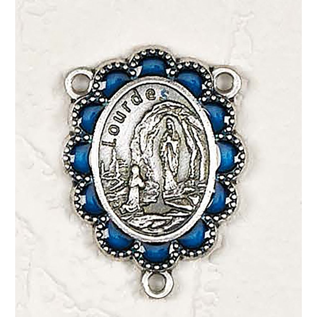 Enameled Delux Our Lady of Lourdes 3/4 inch Silver toned Rosary Center  - Pack of 25