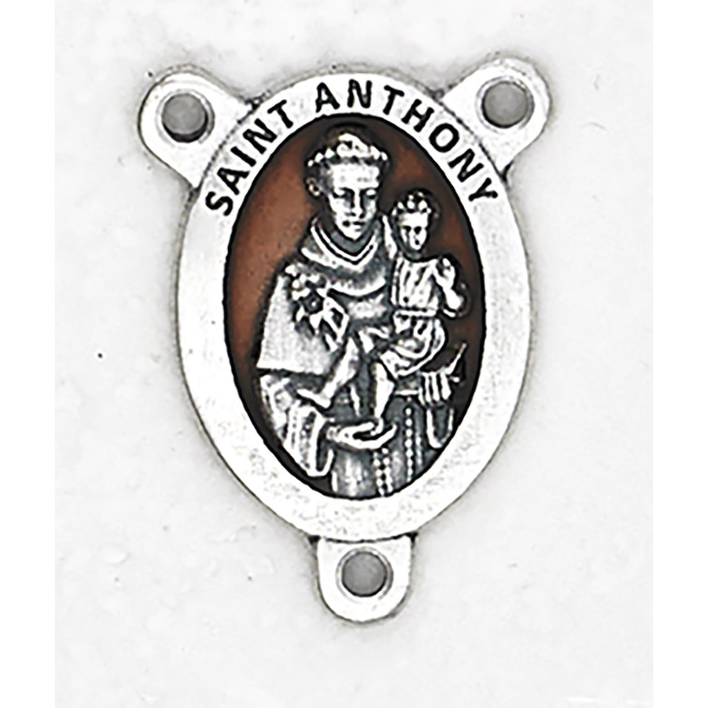 Enameled Saint Anthony Rosary Center - Pack of 25