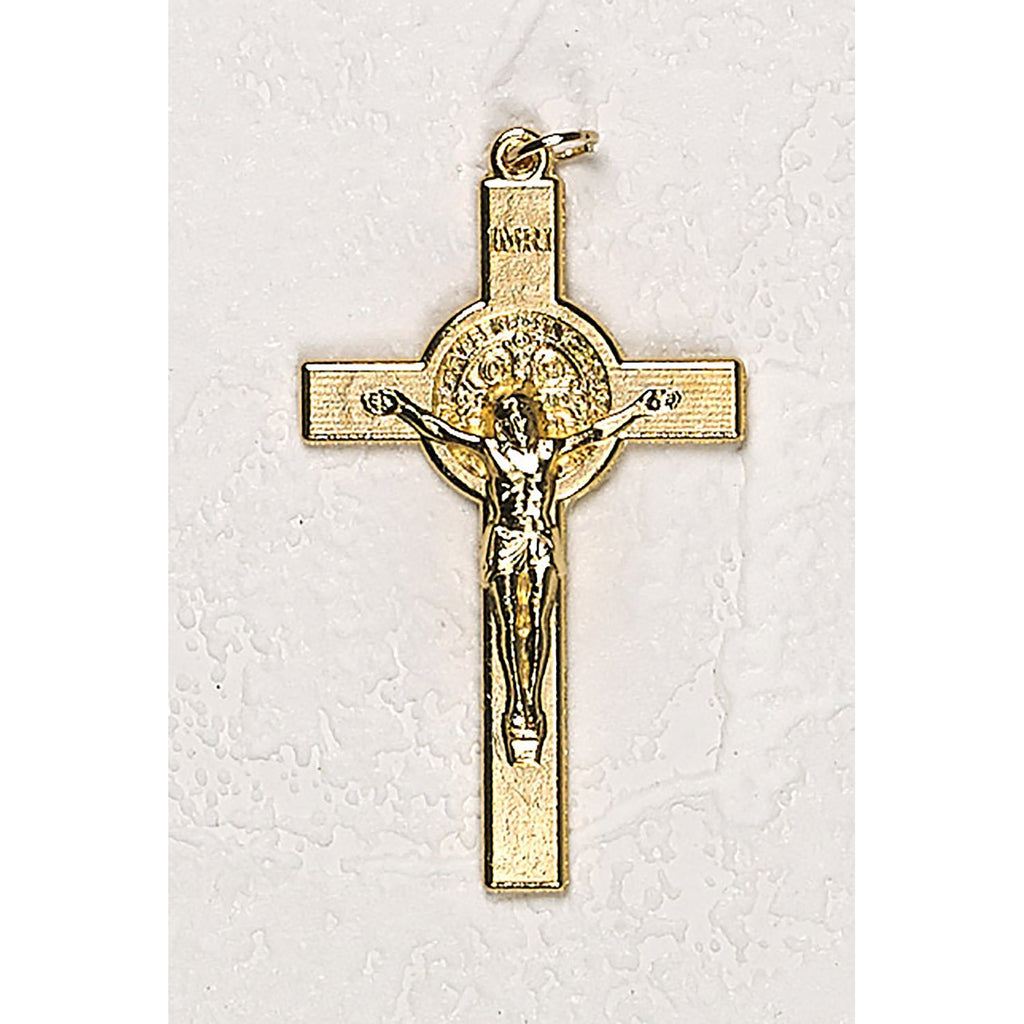 3-1/2 inch Gold Tone Saint Benedict Cross with Cord - 3 size options