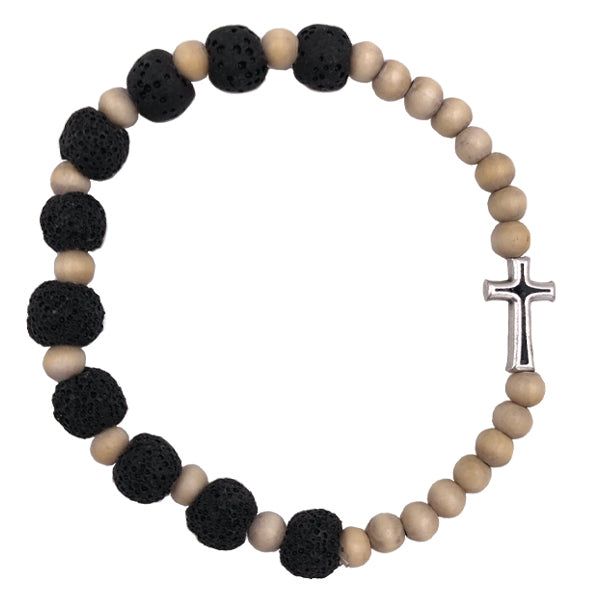 "Light Wood Tone Stretch Bracelet with Black ""Volcanic Looking"" Beads with Enameled Cross"