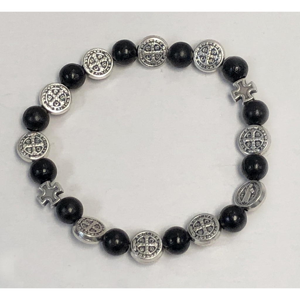 8mm Black Wood Saint Benedict Stretch Bracelet