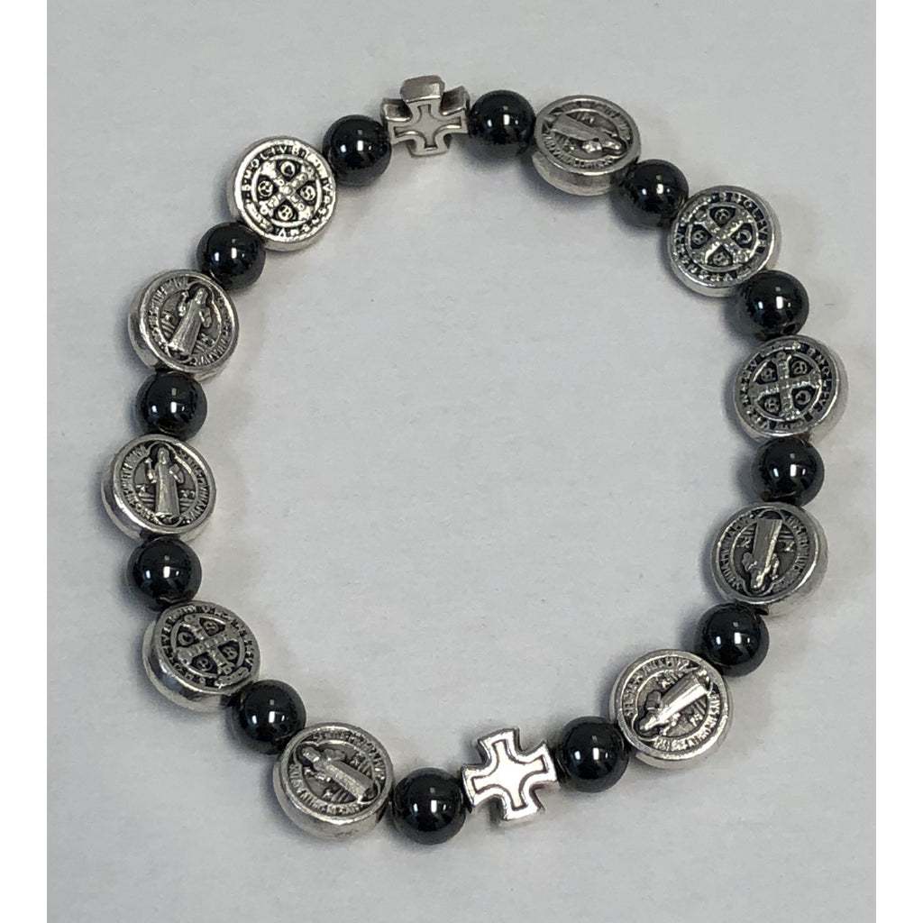 7mm Hematite Saint Benedict Stretch Bracelet