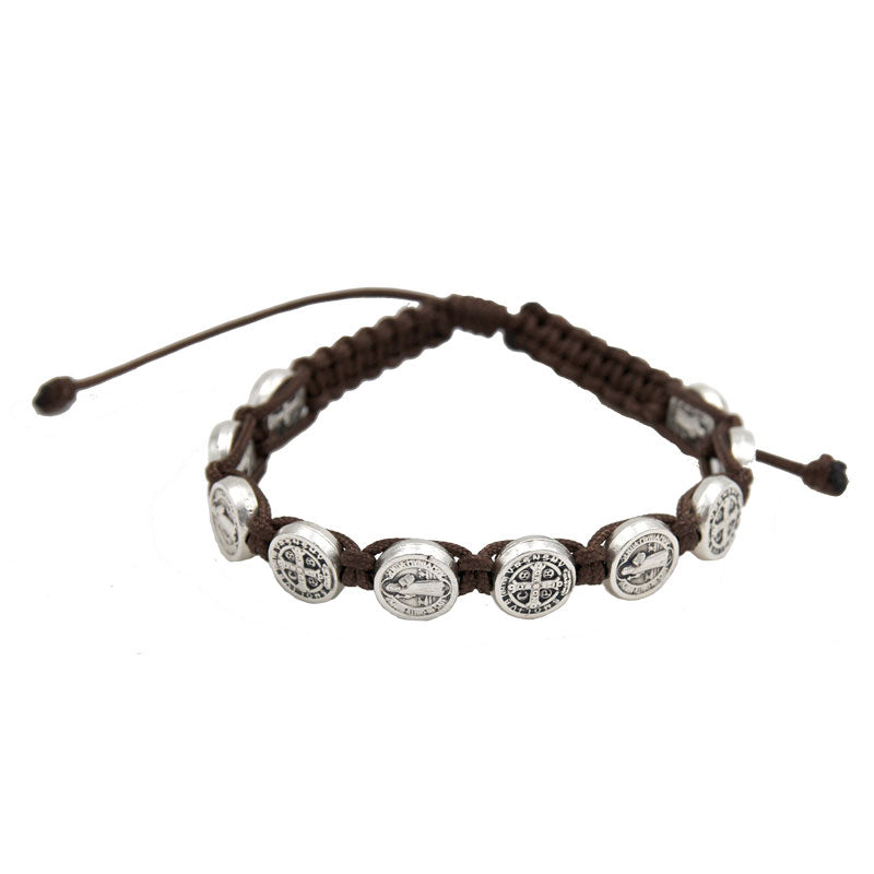 St. Benedict Slip Knot Bracelet - Brown - Pack of 12