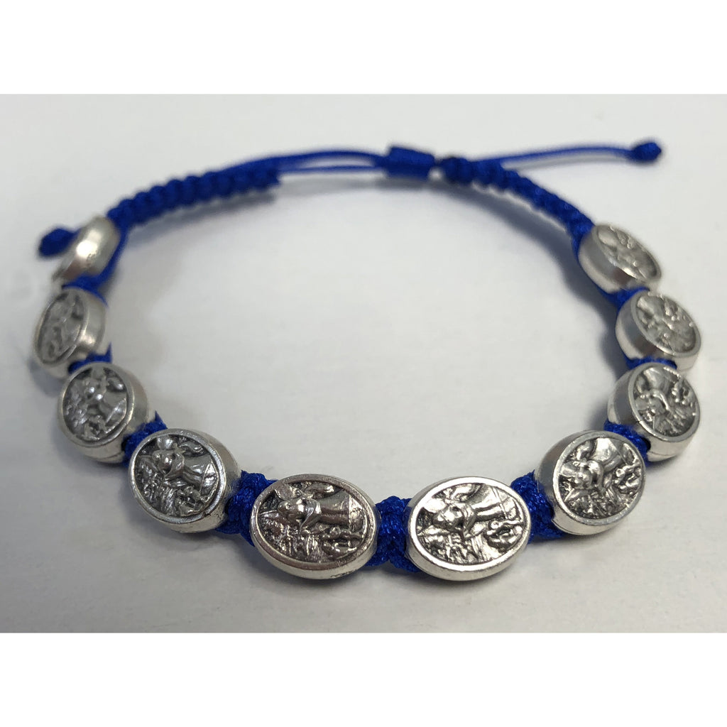 Child Size Cord Slip Knot Bracelet- Blue- Guardian Angel