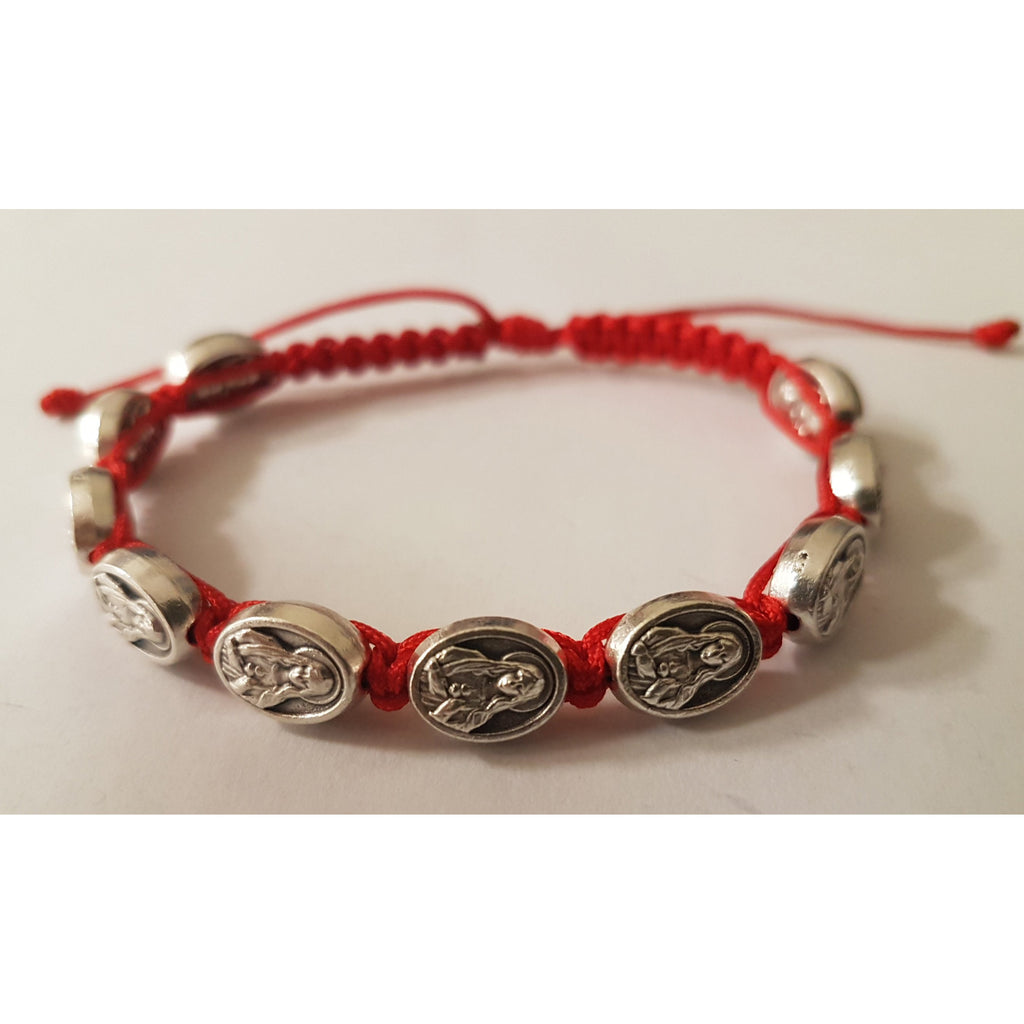 Child Size Cord Slip Knot Bracelet- Red - Immaculate Heart Of Mary