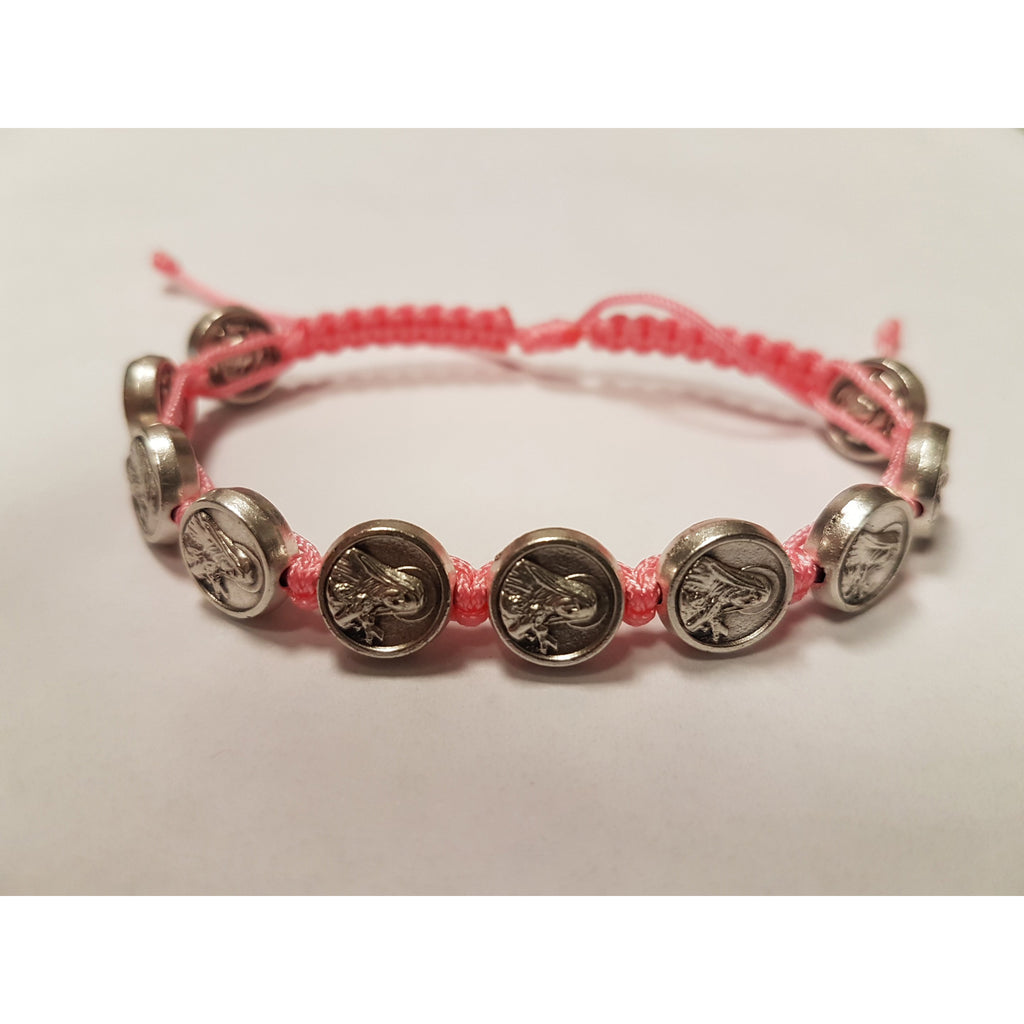 Child Size Cord Slip Knot Bracelet- Pink- St Therese Of Lisieux