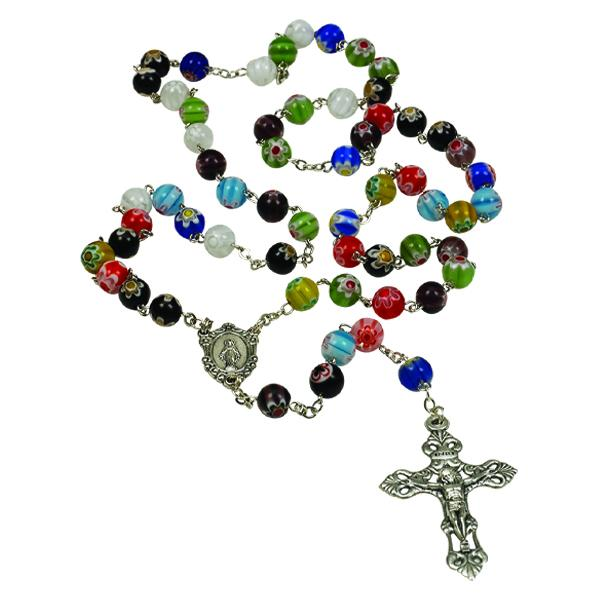 Round Imitation Murano Glass Bead Rosary
