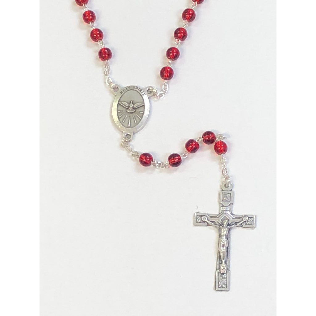 Red Confirmation Holy Spirit Cat's Eye Rosary