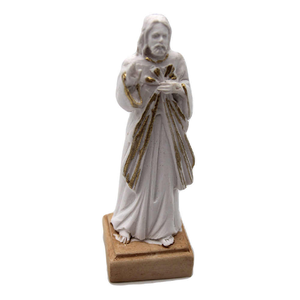 White Resin Divine Mercy Statue with Gold Tone Trim