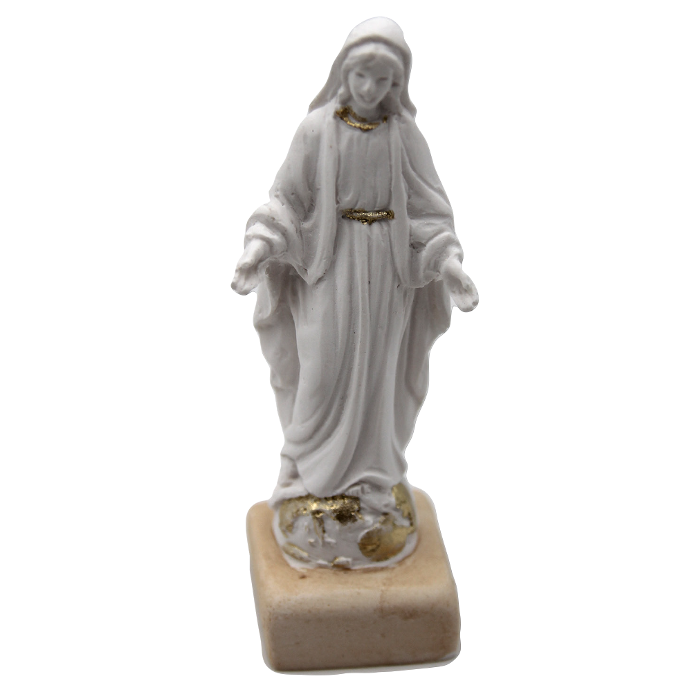 White Resin Miraculous Statue with Gold Tone Trim