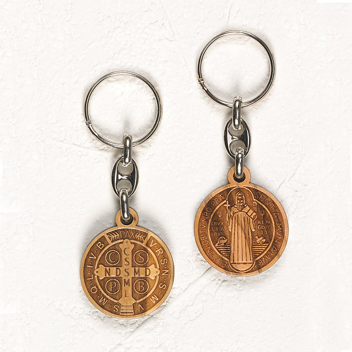 Saint Benedict Wooden Token Key Chain