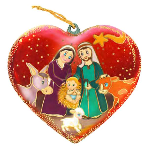 Heart Shaped Holy Family with Animals