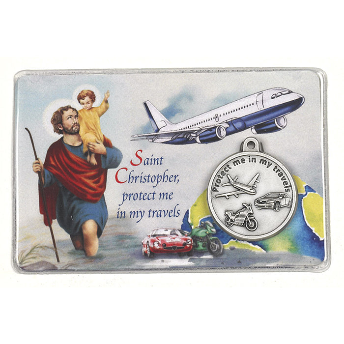 Laminated Traveler's Prayer Card with St. Christopher/ St. Michael Medal