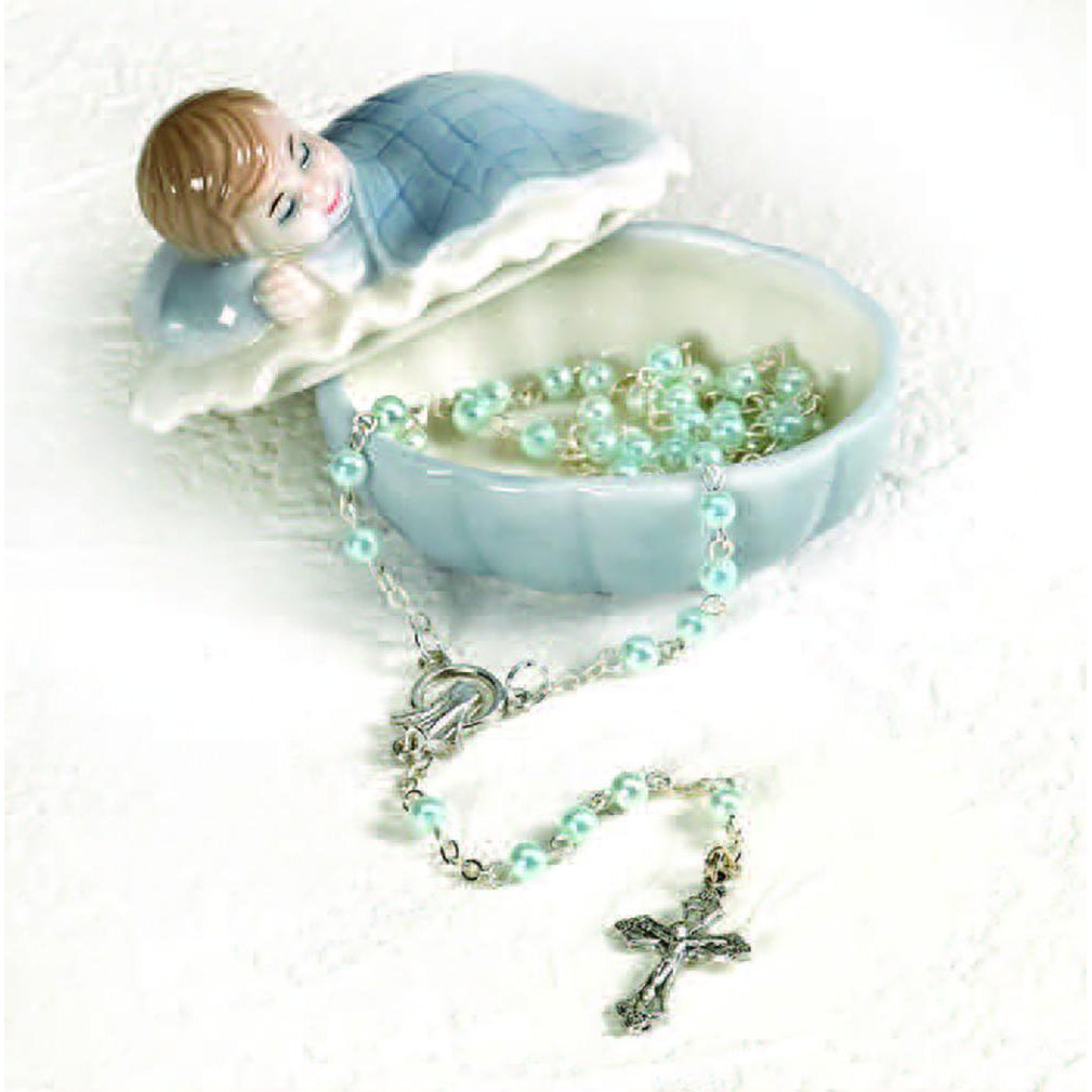 Porcelain Baby Keepsake Box with Rosary