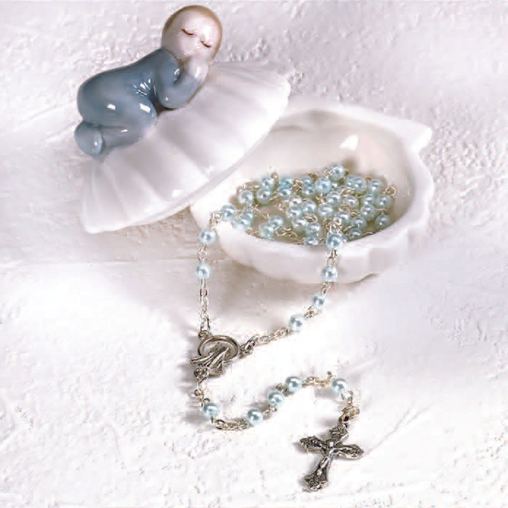 Blue Porcelain Baby Keepsake Box with Rosary