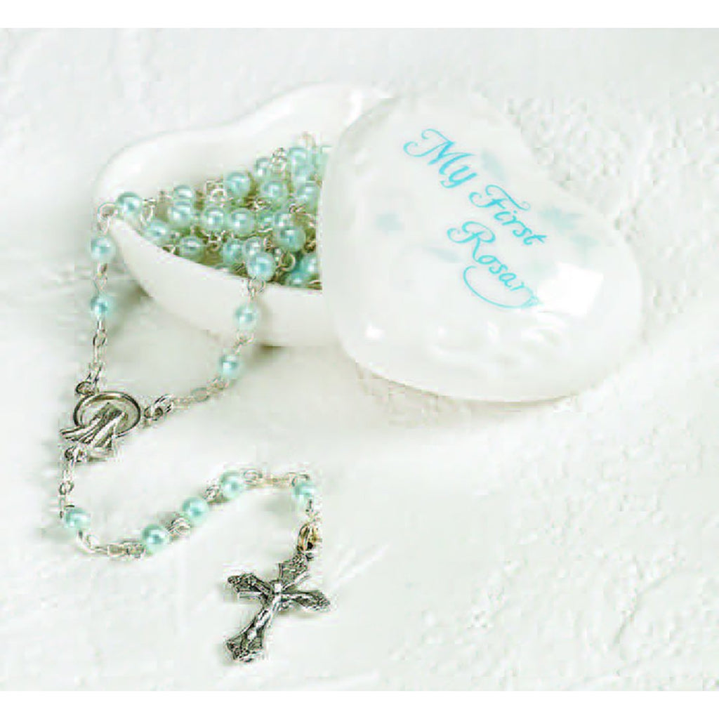 Porcelain Baby Keepsake Box with Rosary Blue