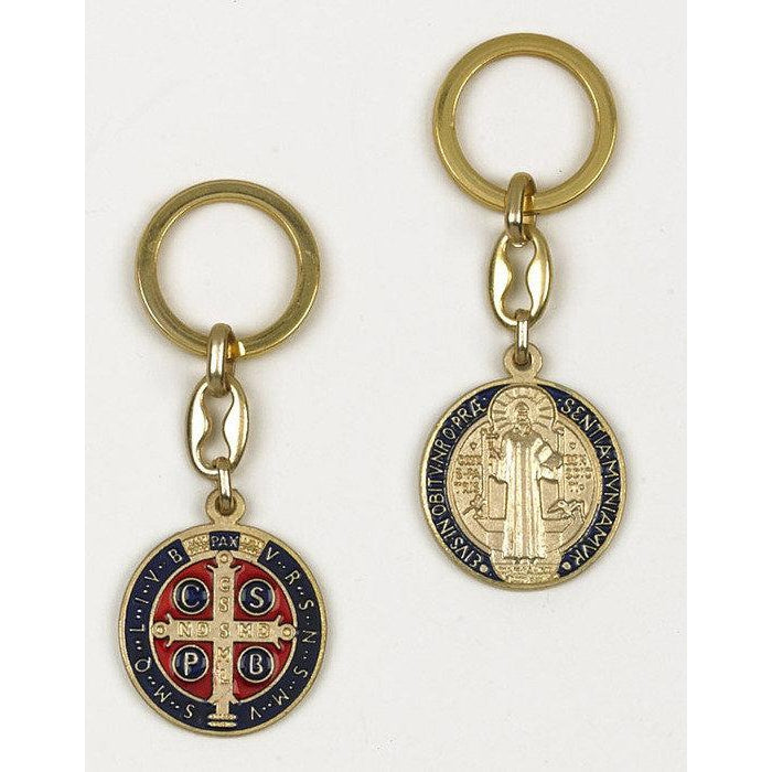 Saint Benedict Gold Tone Keyring - Blue Enamel - Pack of 6