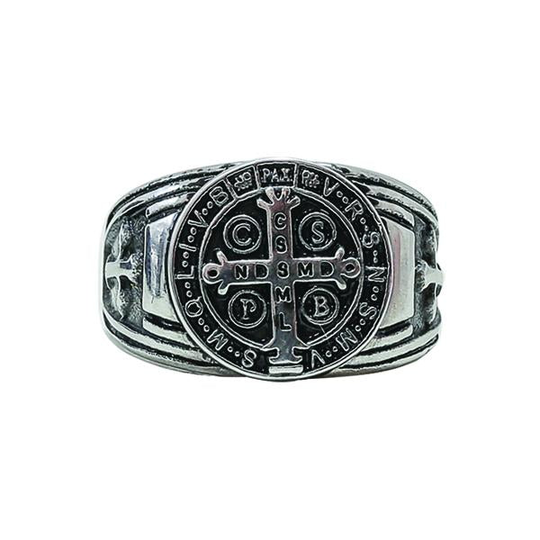 Silver-tone Premium St. Benedict Men's Ring, Size Medium