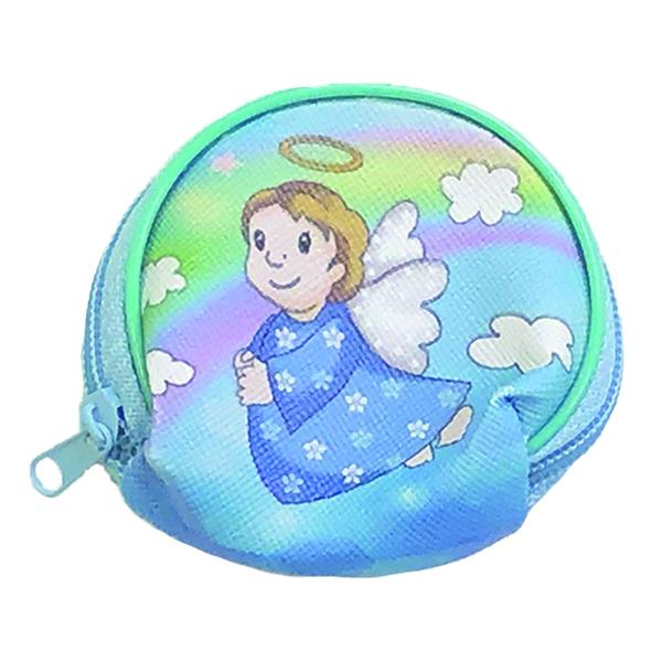 Boys Angel Vinyl Rosary Set - Pouch with Blue Imitation Pearl Rosary