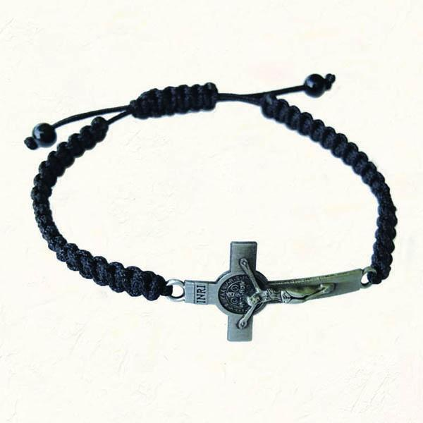 Black Slip knot bracelet with Antique Silver-tone St. Benedict Cross